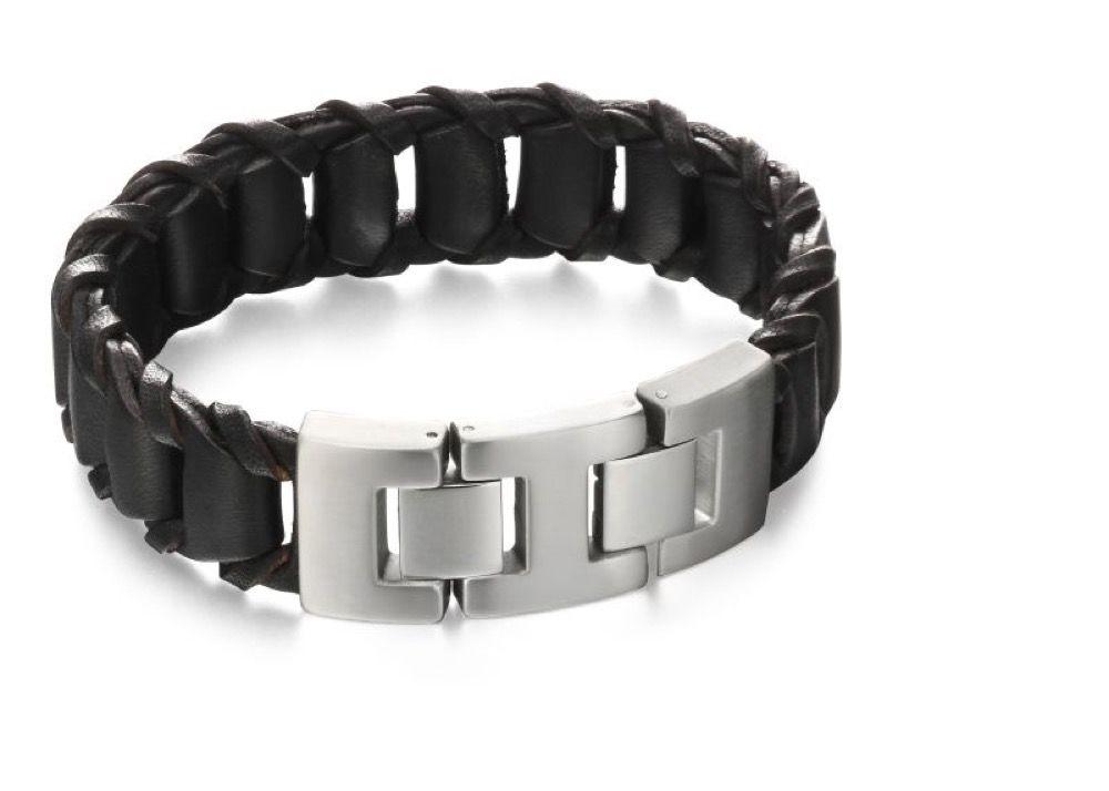 Fred Bennett Mens Stainless Steel Woven Black Leather Chunky Click Clasp Bracelet of Length 22cm