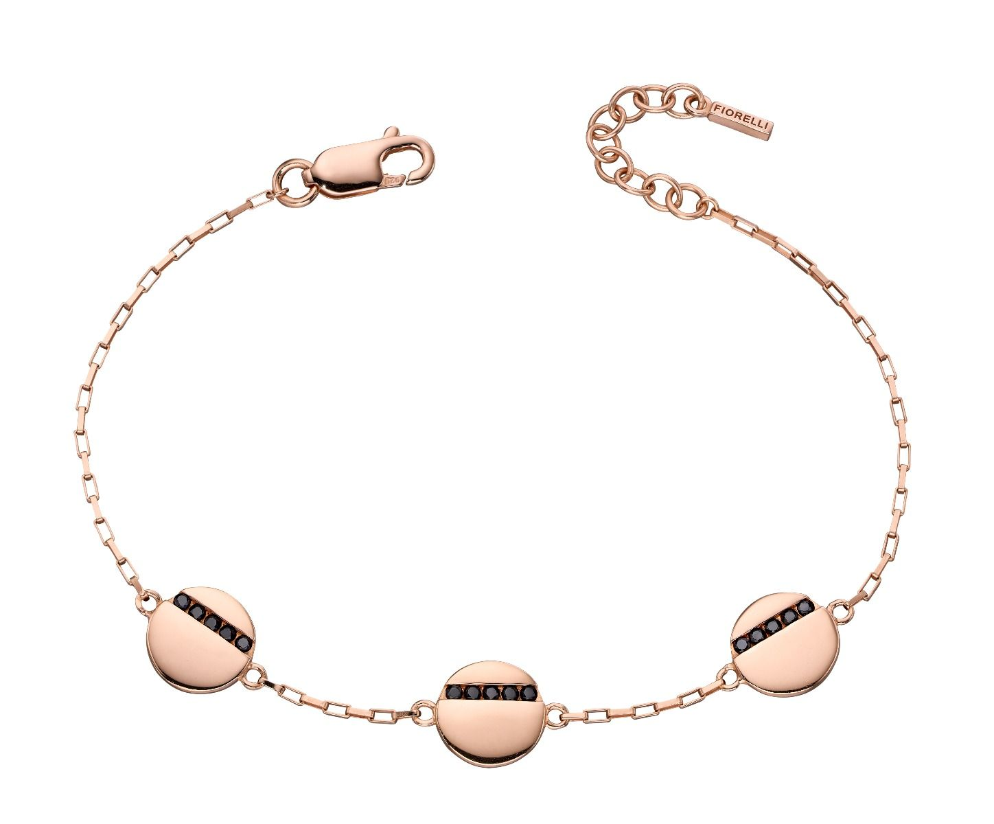 Fiorelli Silver Womens 925 Sterling Silver Black Cubic Zirconia Rose Gold Plated Round Disc Station Bracelet of Length 17cm - 19cm