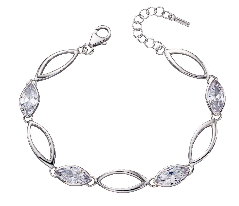 Fiorelli Silver Womens 925 Sterling Silver Cubic Zirconia Navette Link Station Bracelet of Length 17.5cm + 3cm