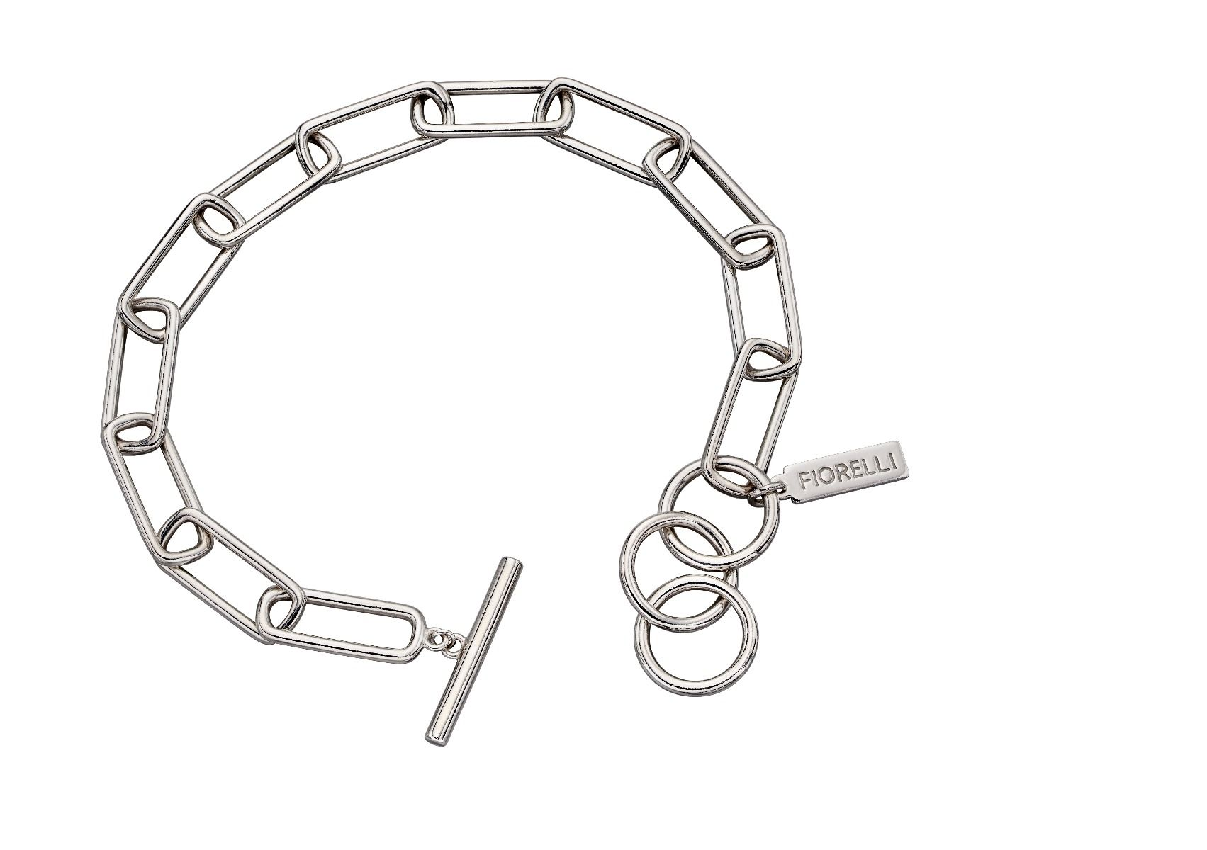 Fiorelli Silver Womens 925 Sterling Silver Wide Link Chain Charm Carrier Bracelet of Length 19cm