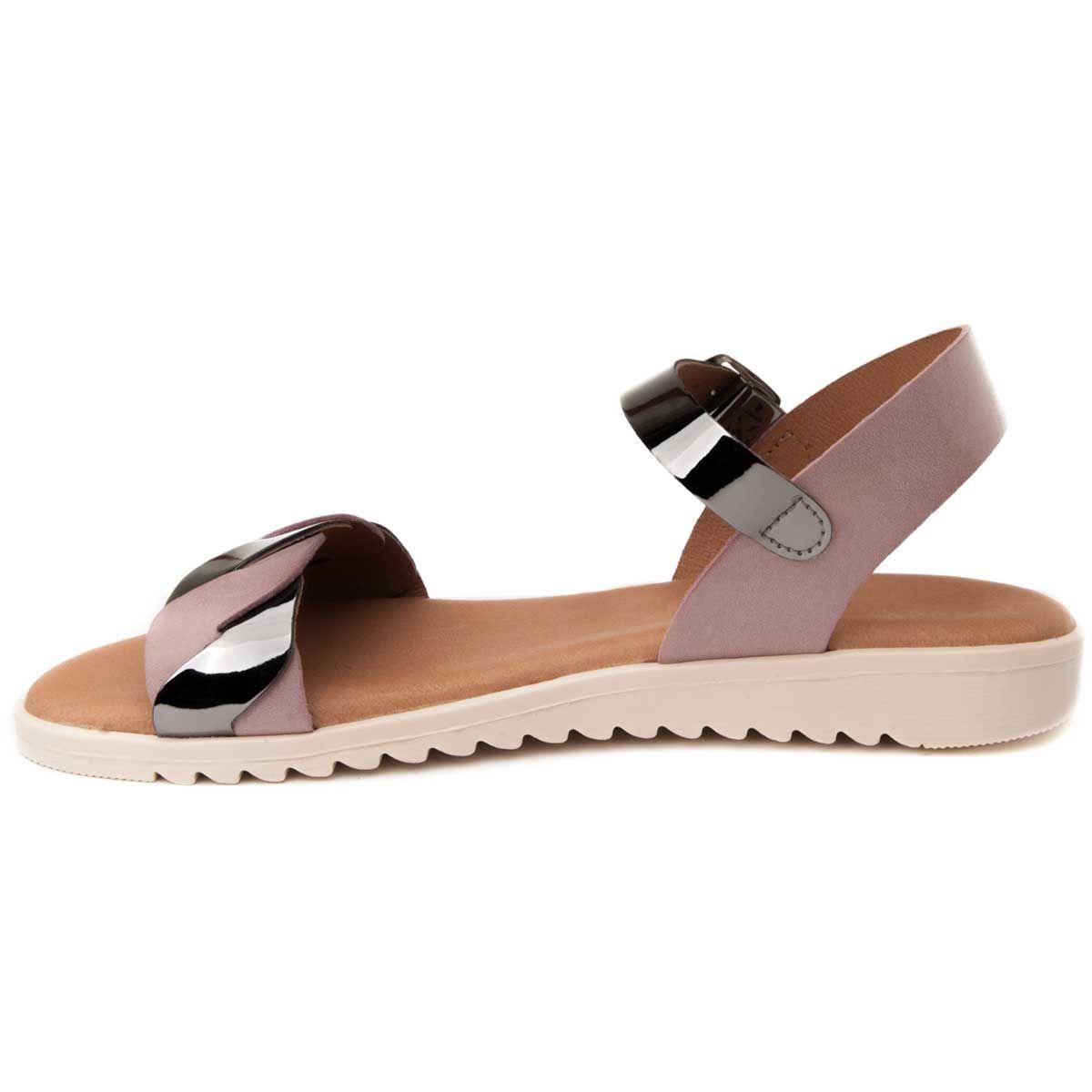 Purapiel Strappy Flat Sandal in Purple