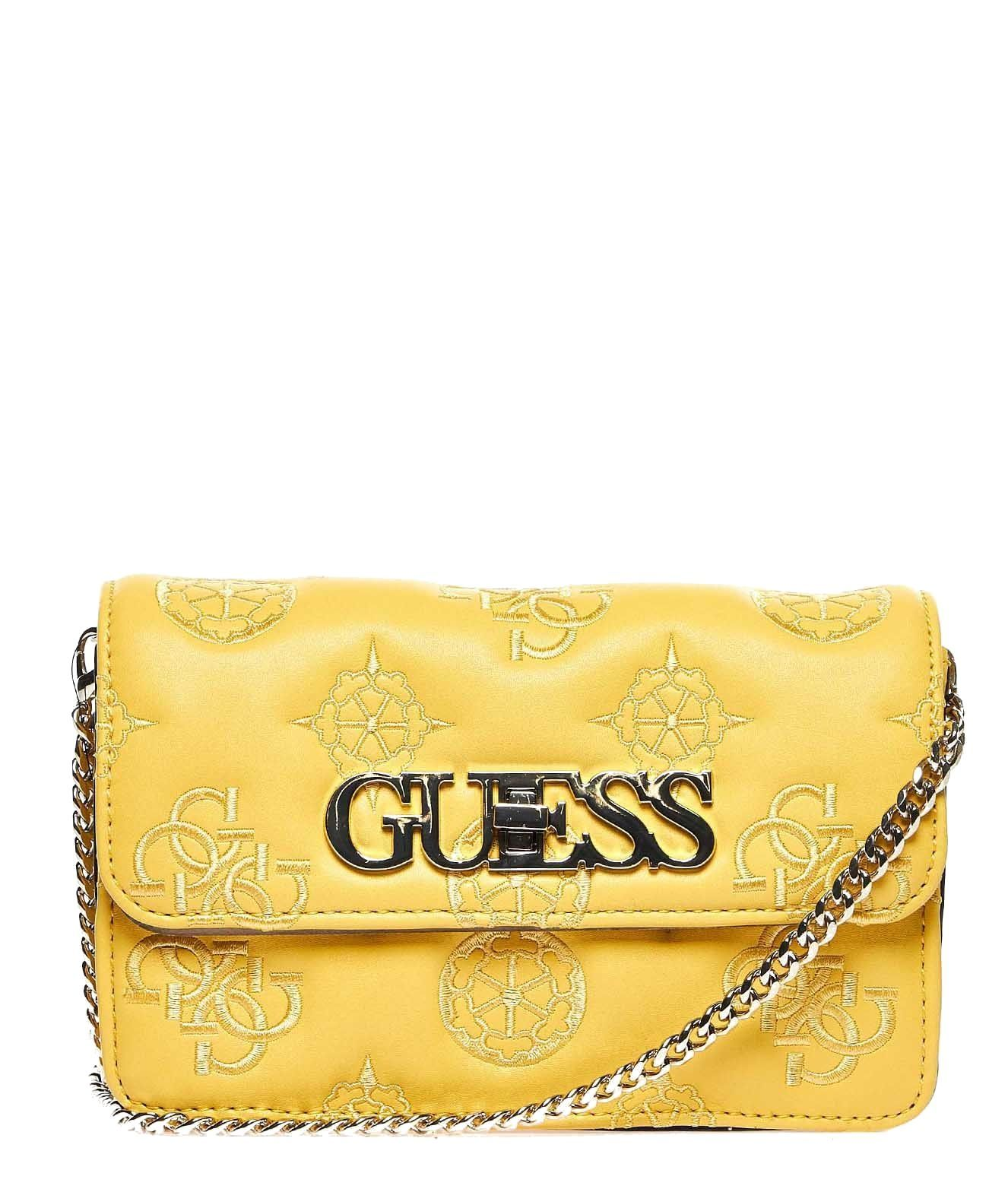 GUESS WOMEN'S HWSG7589800YELLOW YELLOW LEATHER SHOULDER BAG