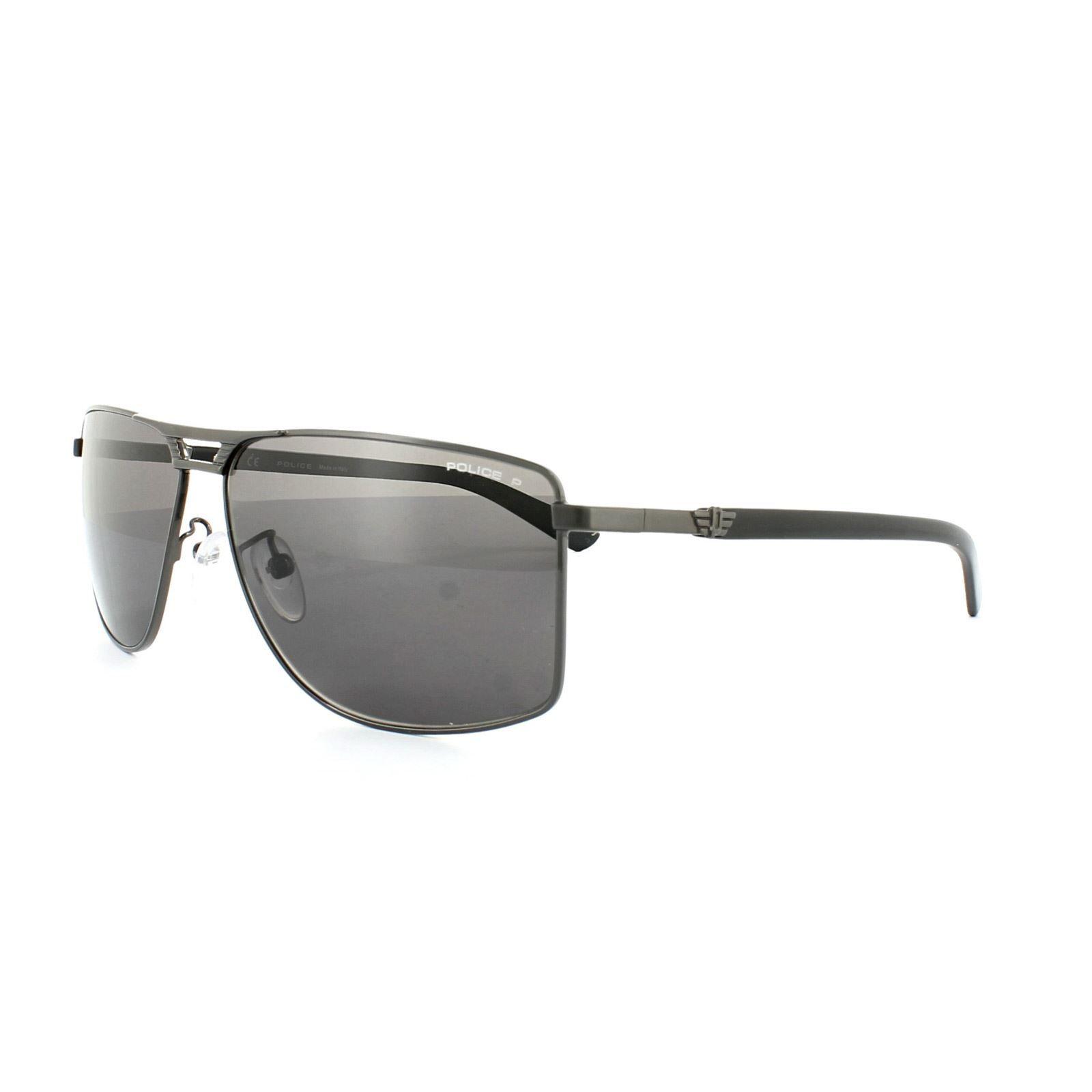 Police Sunglasses S8848 Flash 1 584P Shiny Gunmetal Grey Grey Polarized
