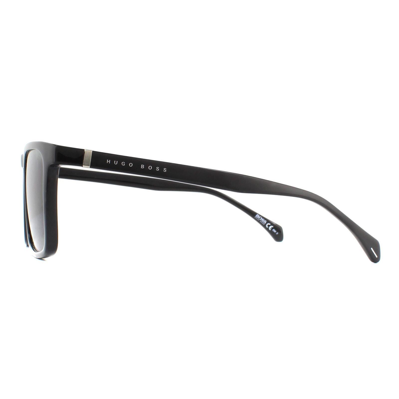 Hugo Boss Sunglasses 1082/S 807 QT Shiny Black Grey Green