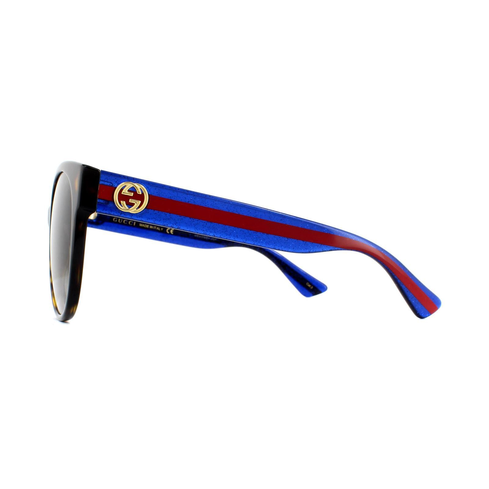 Gucci Sunglasses GG0035S 004 Havana Glitter Blue and Red Brown