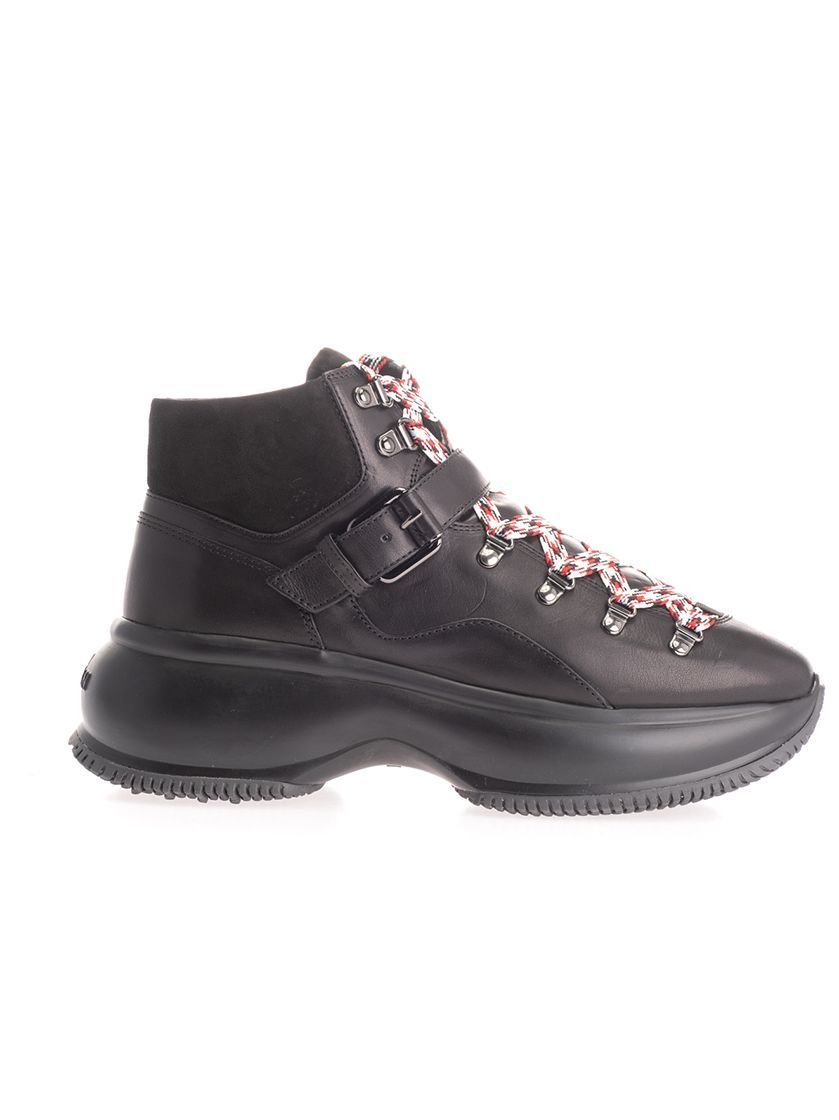 HOGAN WOMEN'S HXW4350CA30LPYB999 BLACK LEATHER ANKLE BOOTS