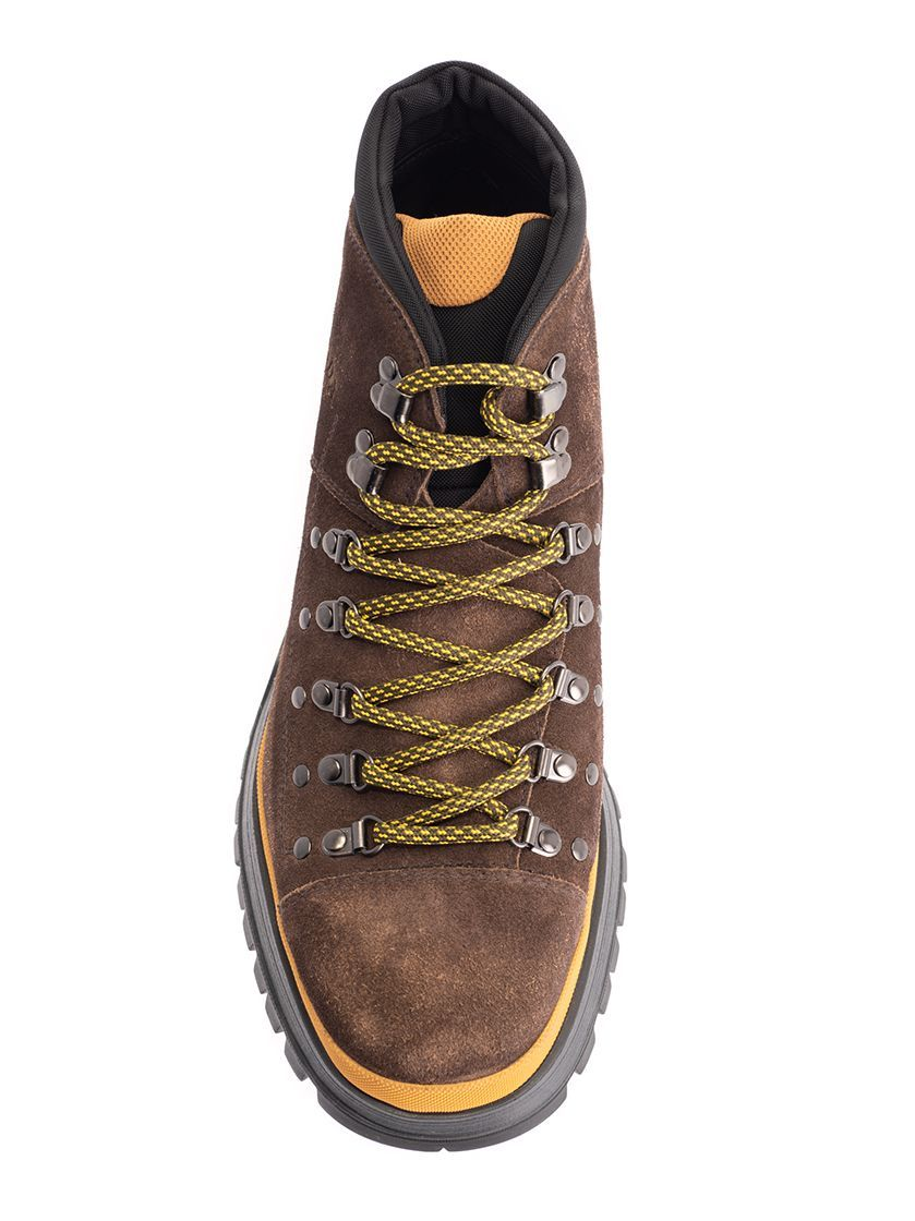 PRADA MEN'S 2TE145FG000Z5OF0003 BROWN SUEDE ANKLE BOOTS