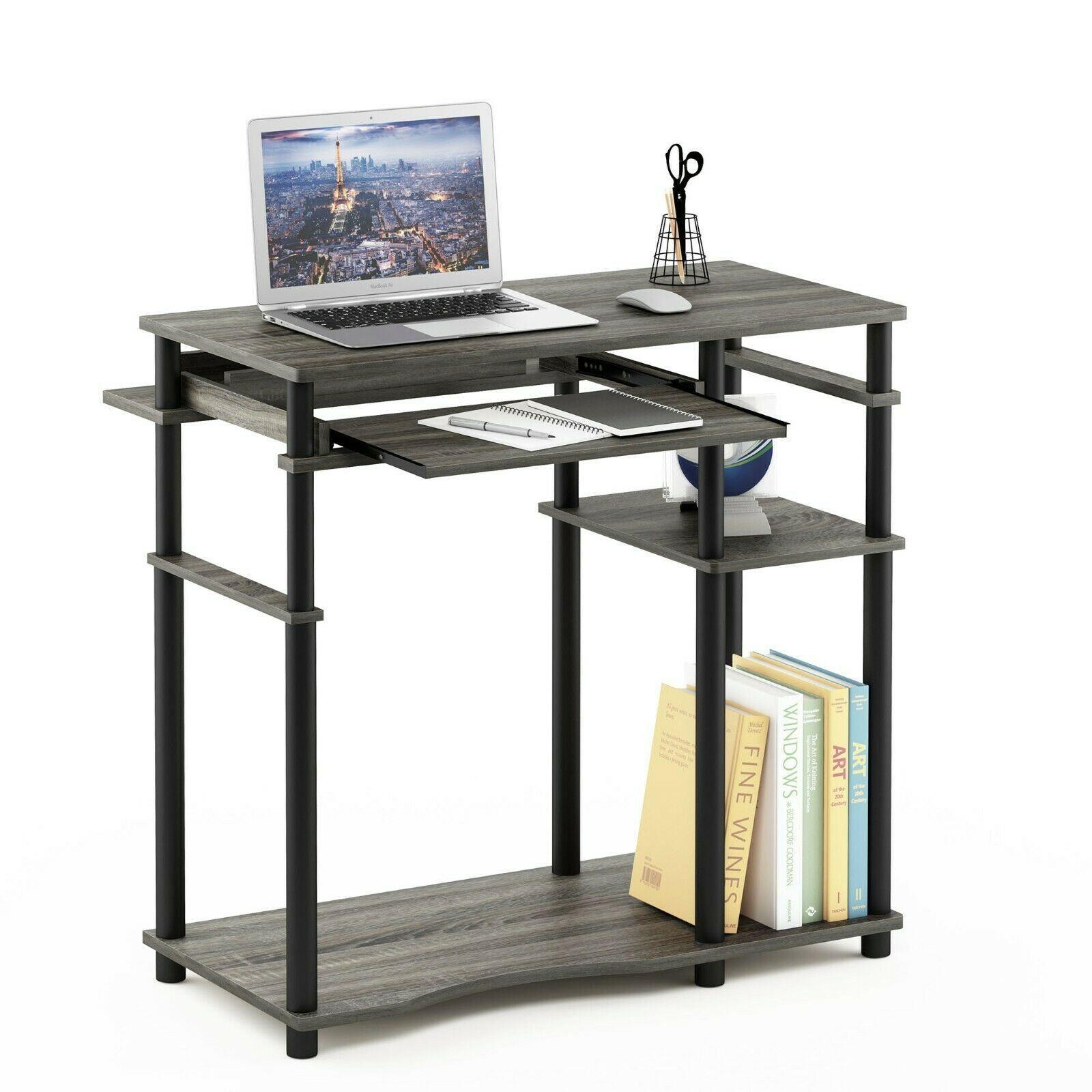 Furinno Abbott Computer Desk with Bookshelf - French Oak Grey/Black