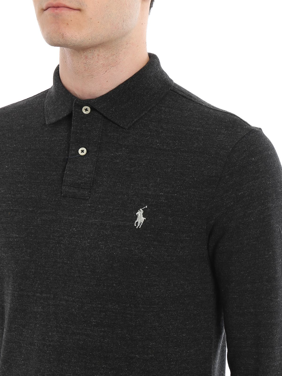 RALPH LAUREN MEN'S 710681126009 GREY COTTON POLO SHIRT