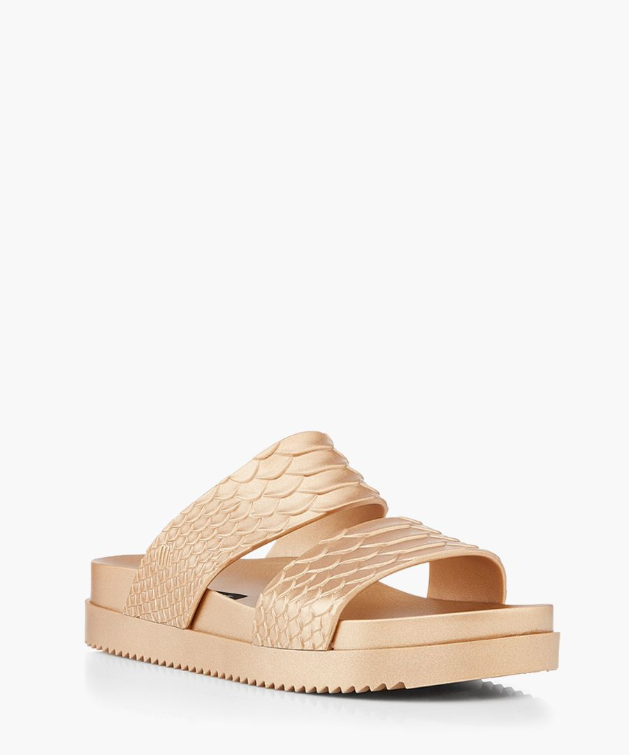 Baja gold-tone rubber sandals