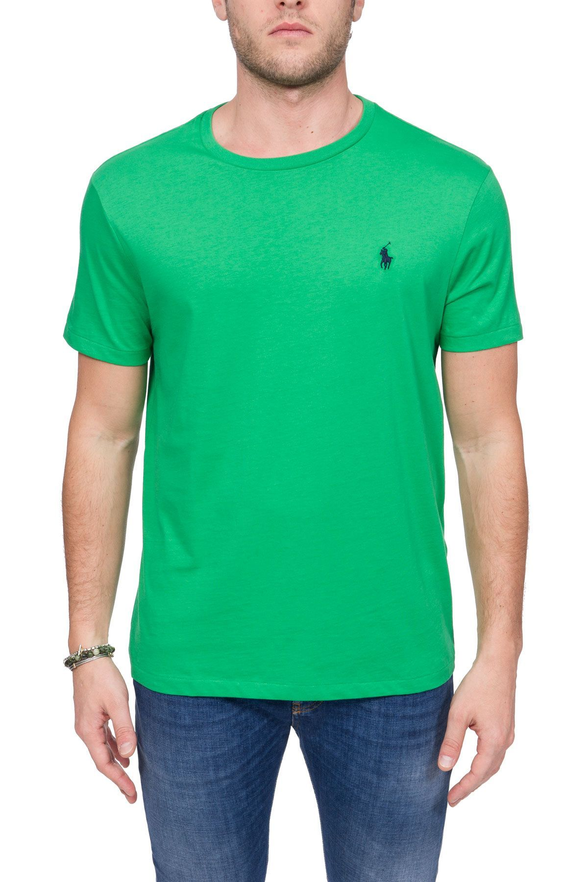 RALPH LAUREN MEN'S 710671438121 GREEN COTTON T-SHIRT