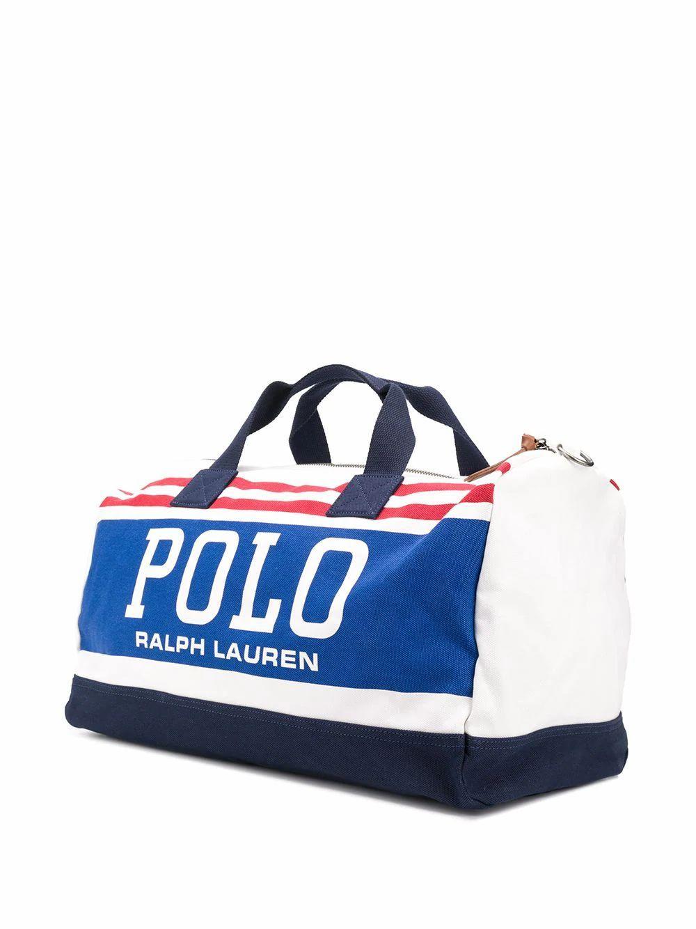 RALPH LAUREN MEN'S 405777376001 WHITE COTTON TRAVEL BAG