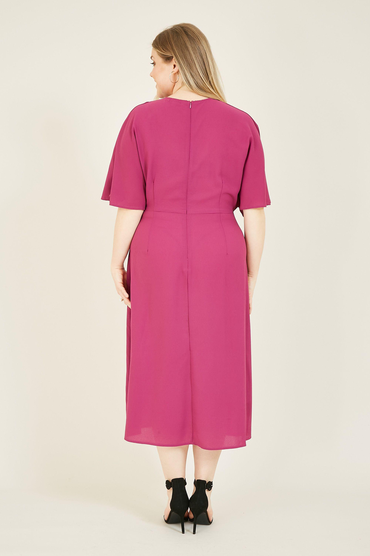 Yumi Curve Pink Kimono Sleeve Midi Dress