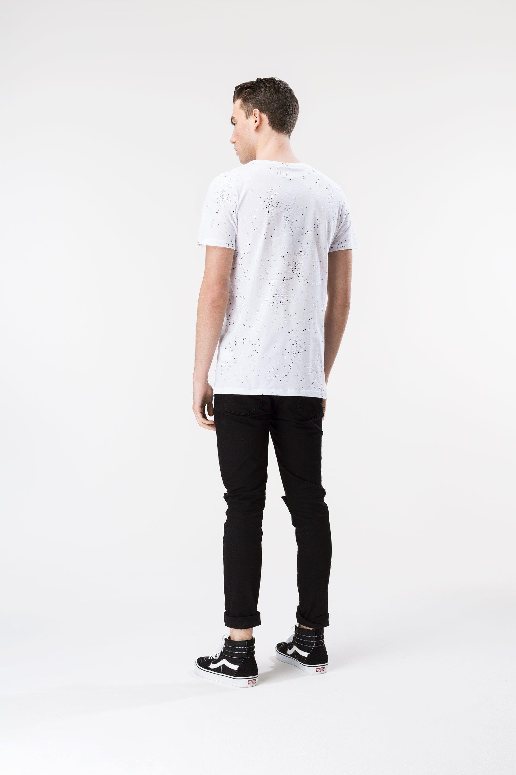 Hype White Aop Speckle Mens T-Shirt Xxs
