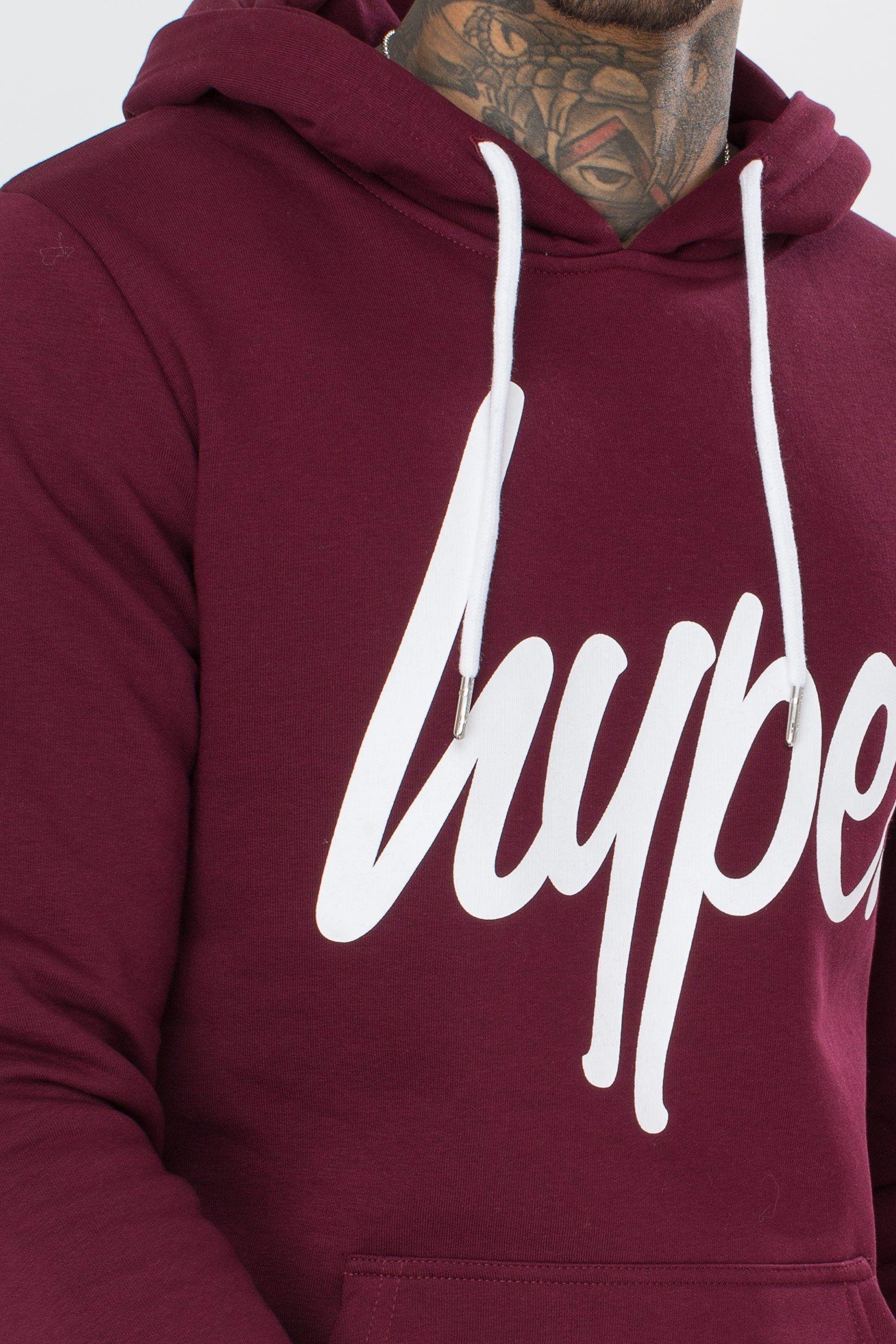 Hype Burgundy Script Mens Pullover Hoodie