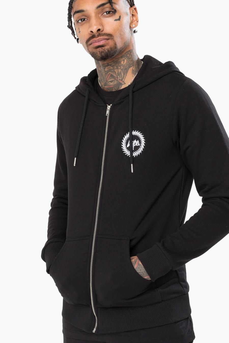 Hype Black Crest Mens Zip Hoodie