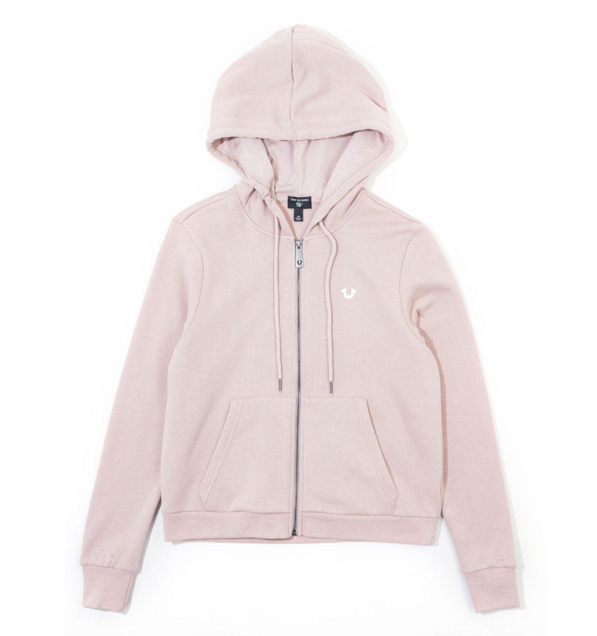 True Religion Women's Logo Zip Hoodie - Dusty Pink