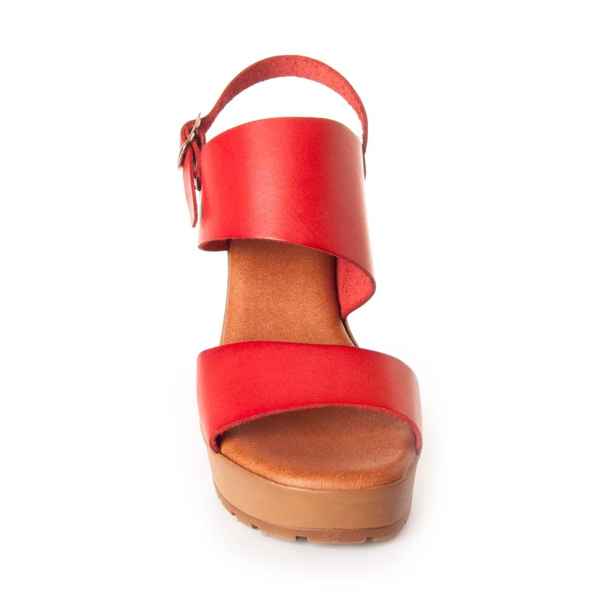 Leindia Platform Sandal in Red