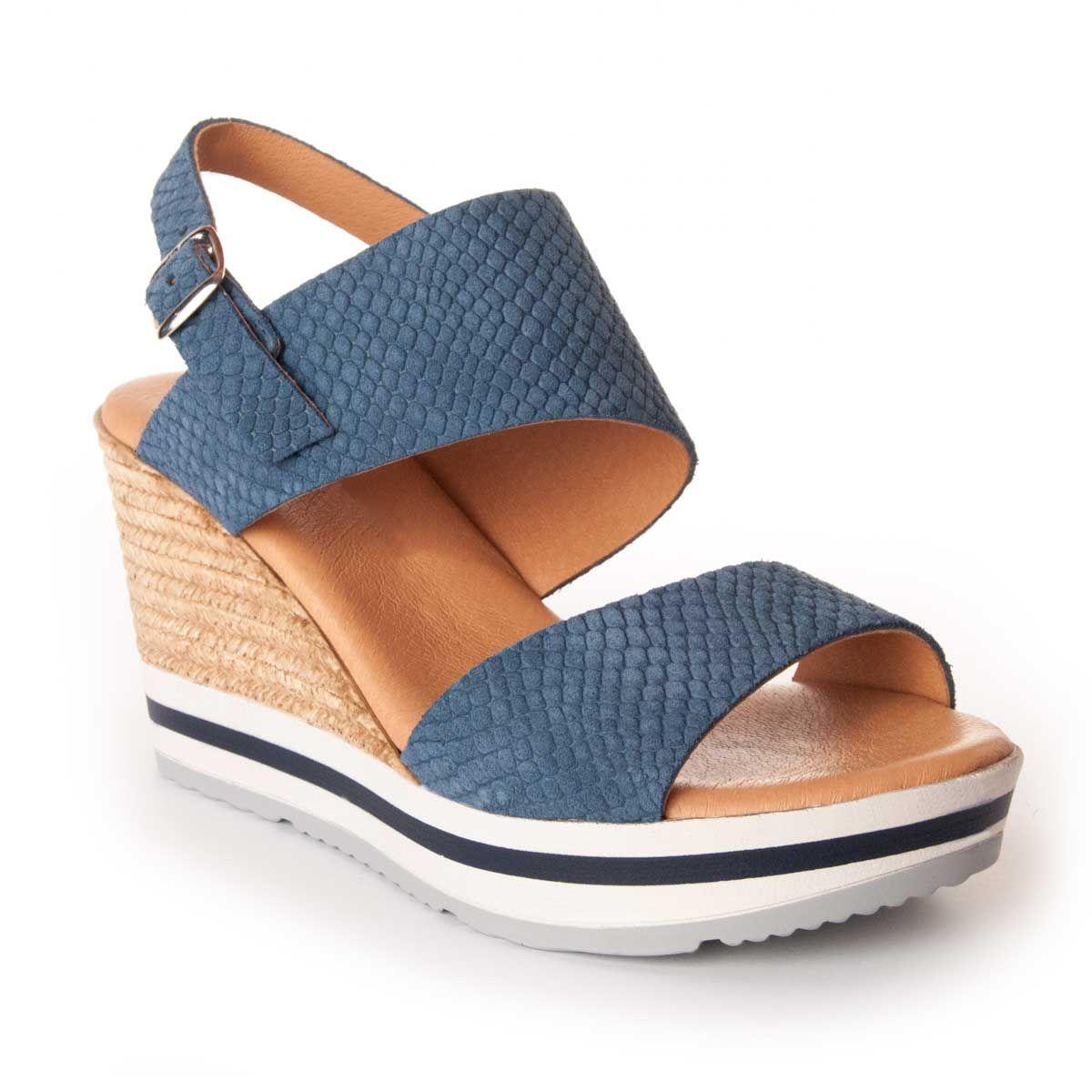 Montevita Chunky Heel Sandal in Blue