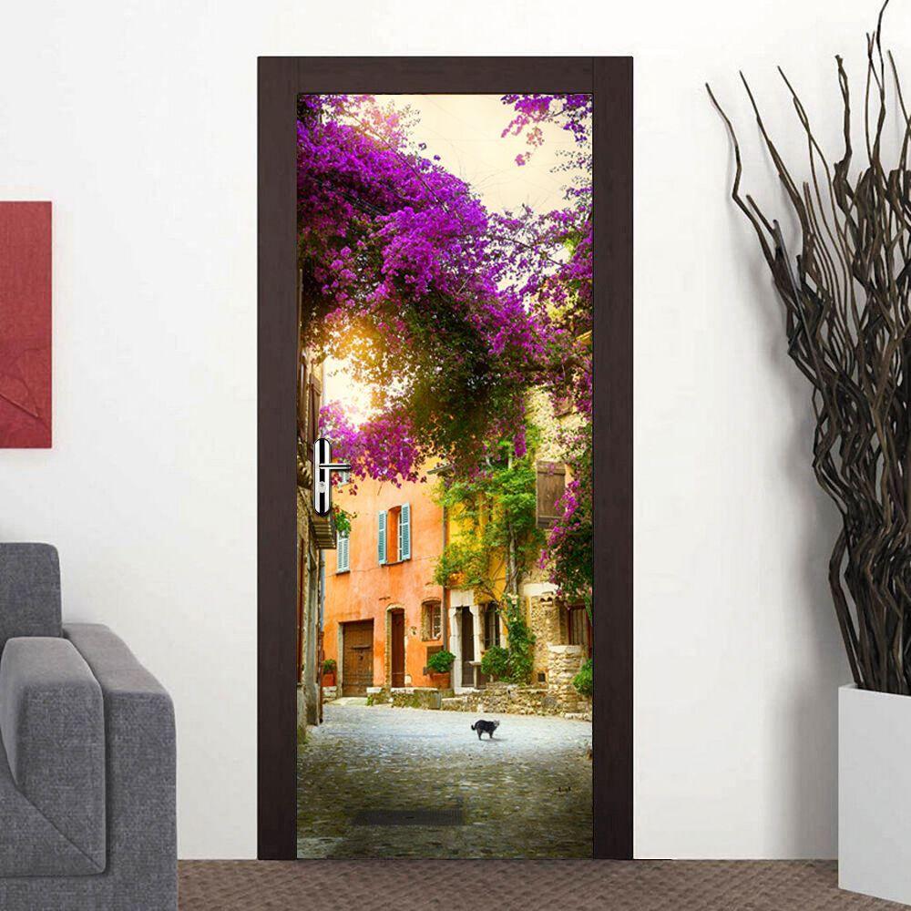 Door Mural Spring Garden Office Decor Home Decoration Self-Adhesive Stickers