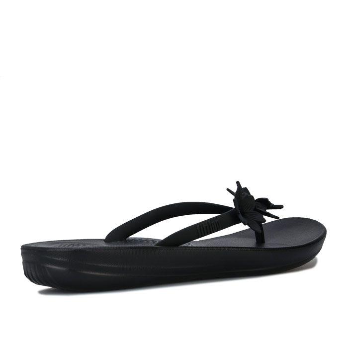 Women's Fit Flop iQushion Flower Flip Flops in Black