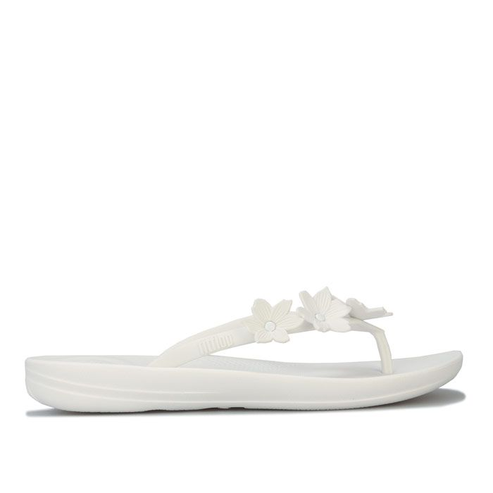 Women's Fit Flop iQushion Flower Flip Flops in White