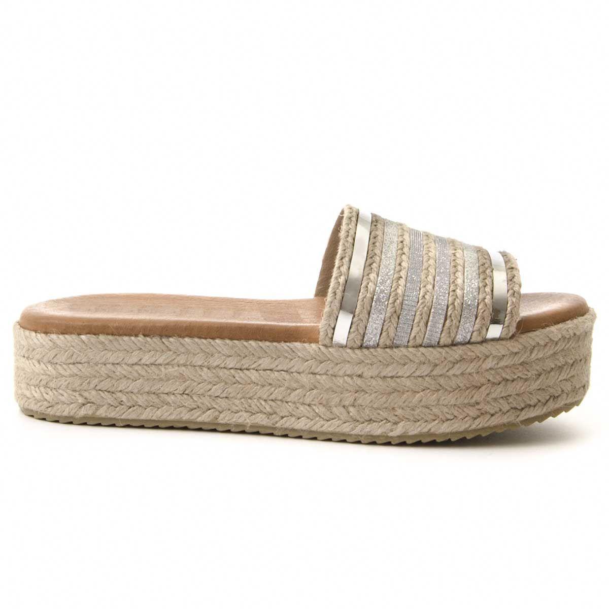 Purapiel Flatform Espadrille Sandal in Silver