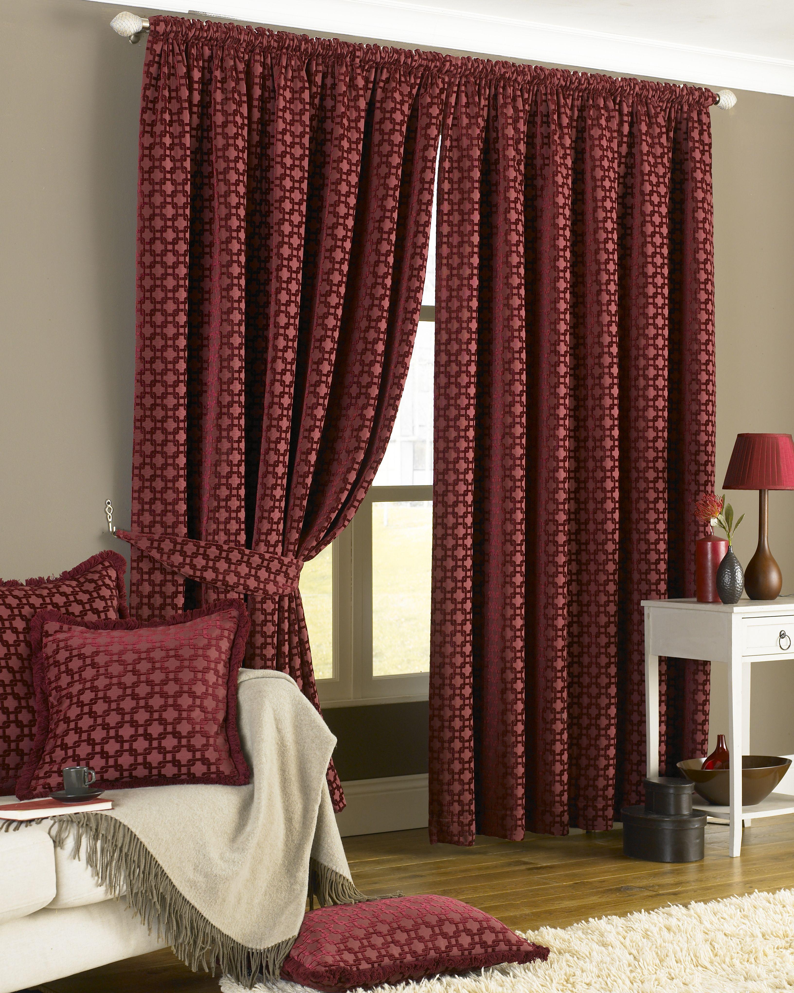 Belmont Chenille Geometric Pencil Pleat Curtains in Claret
