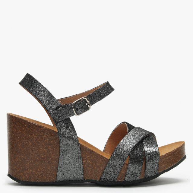 Daniel Beverlywood Metallic Leather Wedge Sandals