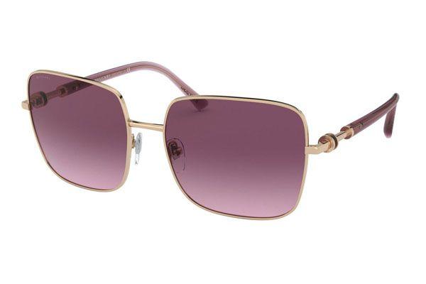 Bvlgari Rectangular metal Unisex Sunglasses Pink Gold / Pink Gradient / Violet