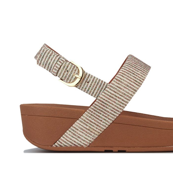 Women's Fit Flop Lottie Glitter Stripe Back Strap Sandals in Stone