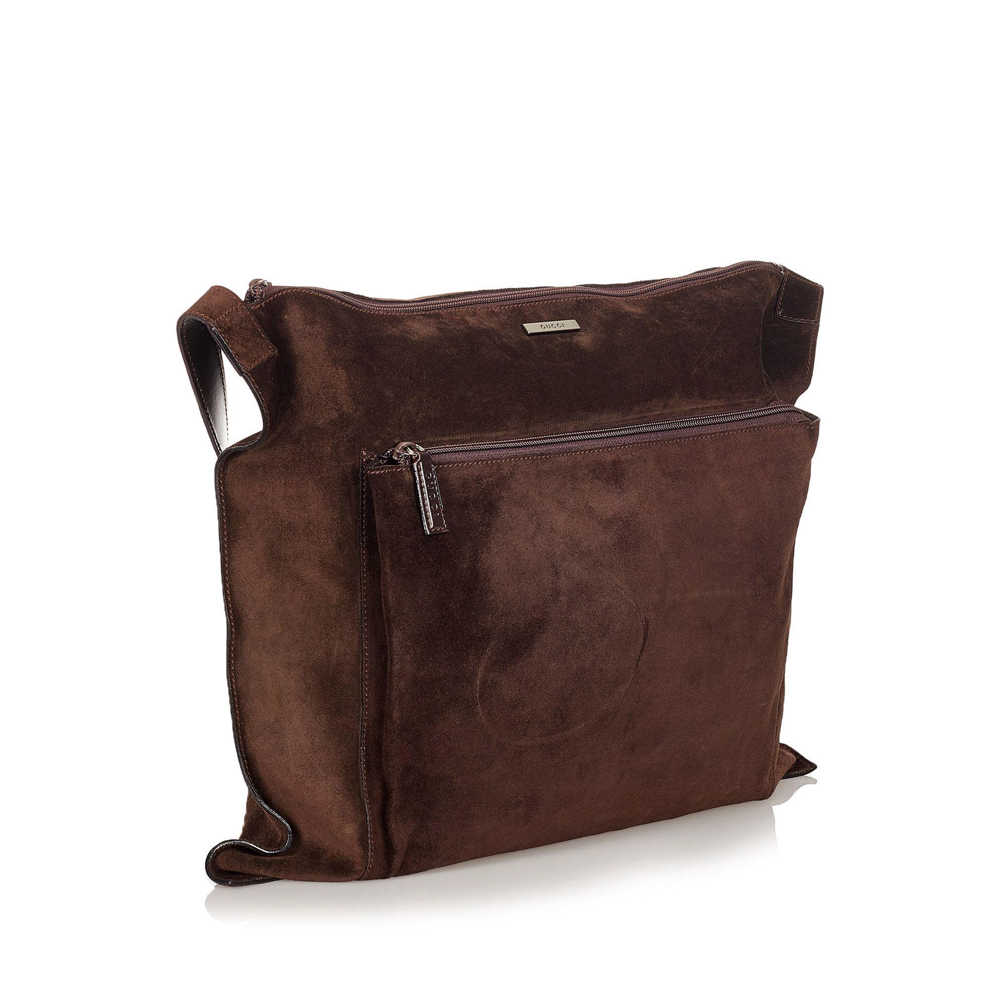 Vintage Gucci Suede Travel Bag Brown