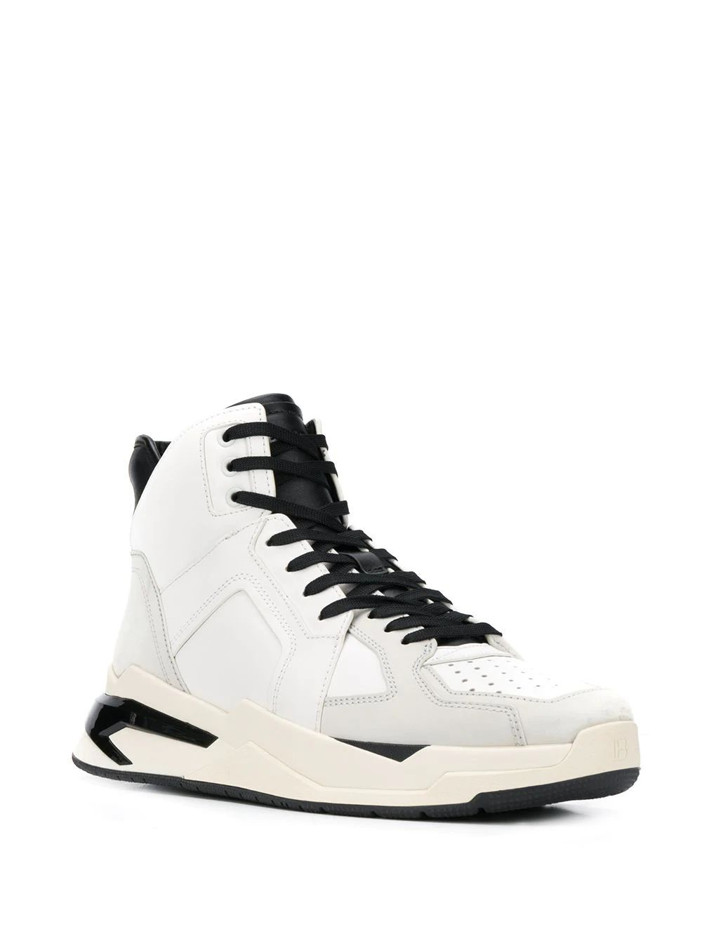 BALMAIN MEN'S SM0C173L016GAB WHITE LEATHER HI TOP SNEAKERS