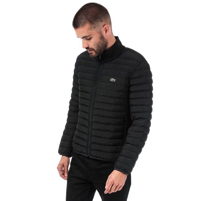Men's Lacoste Combinable Lightweight Quilted Zip Jacket in Black
