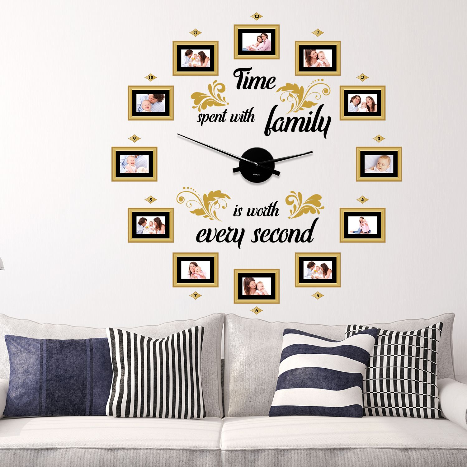 WC2099 - COM - WS9066 + WC2050 - Family Time Classic Photo Frames Wall Clock
