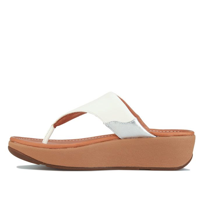 Women's Fit Flop Myla Leather Toe Thong Sandals in White silver