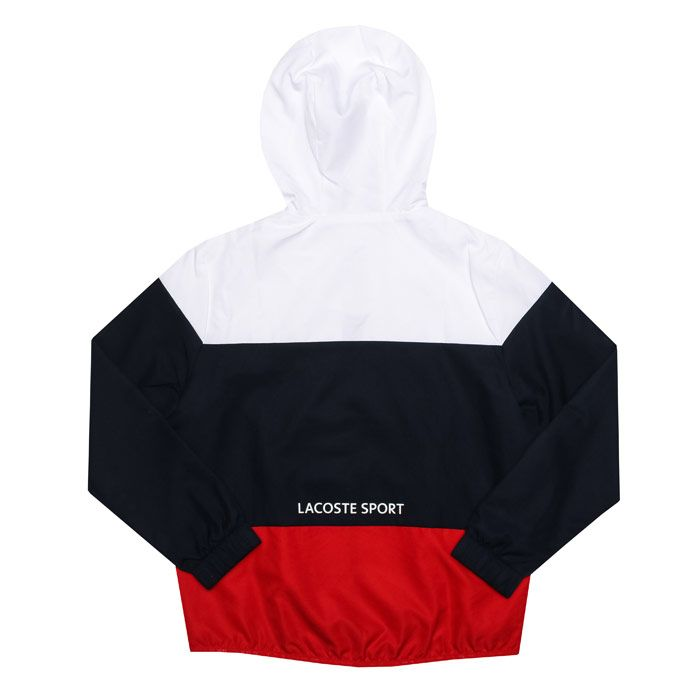 Boy's Lacoste Junior Sport Tri Colour Jacket in White blue