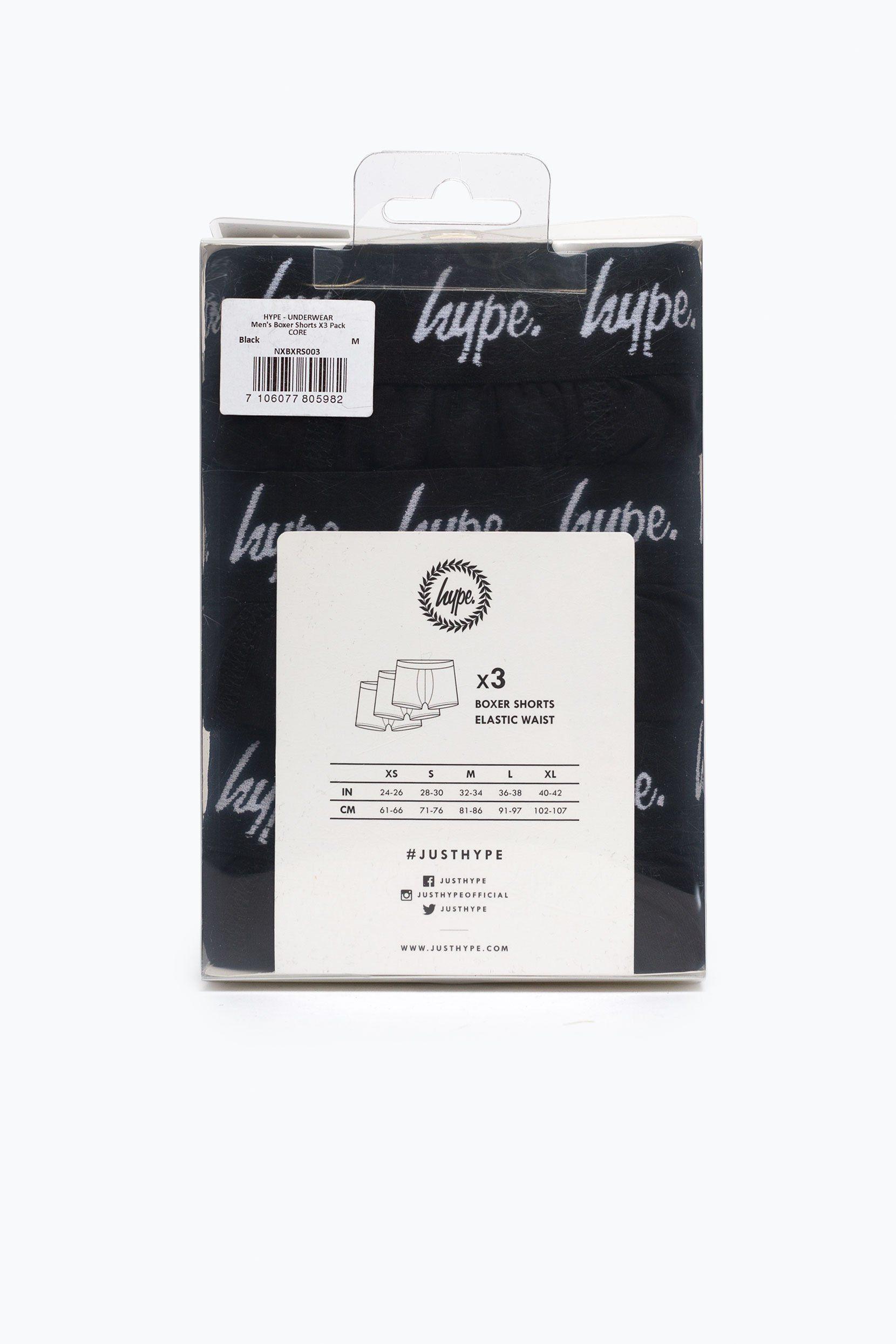 Hype Black Core Mens Boxer Shorts X3 Pack