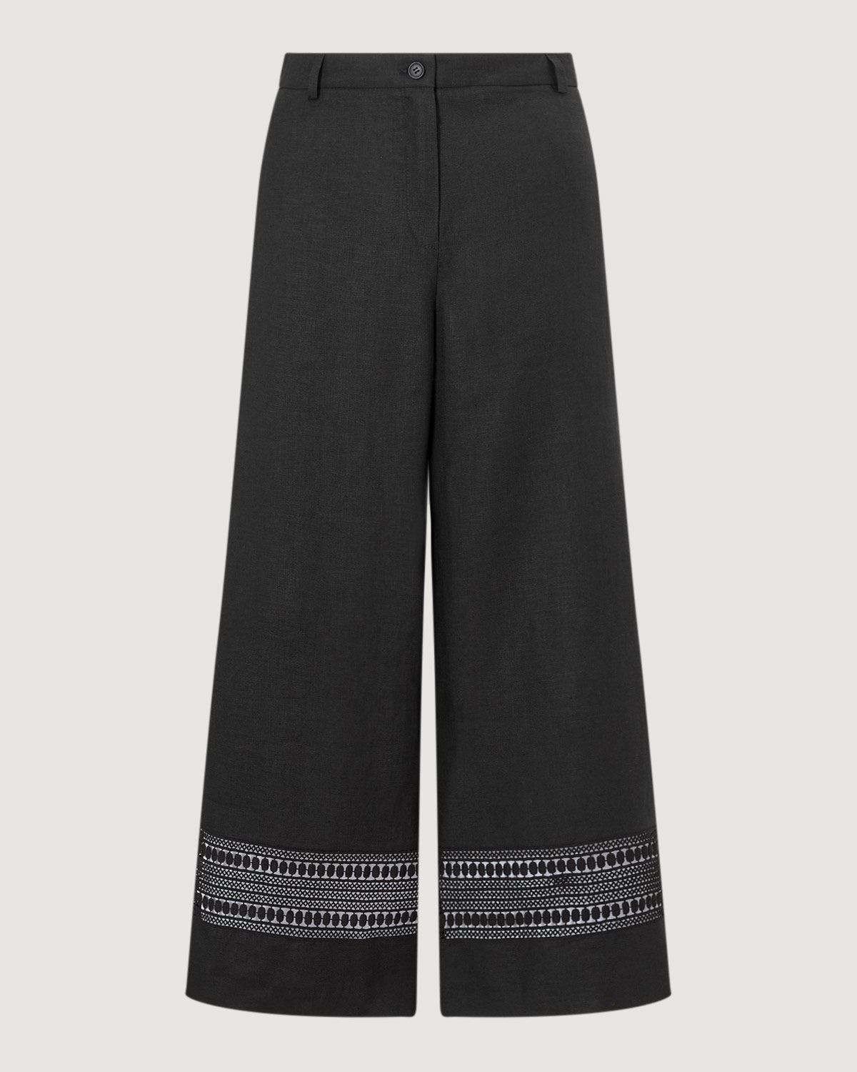 Linen Lace Wide Crop Trouser