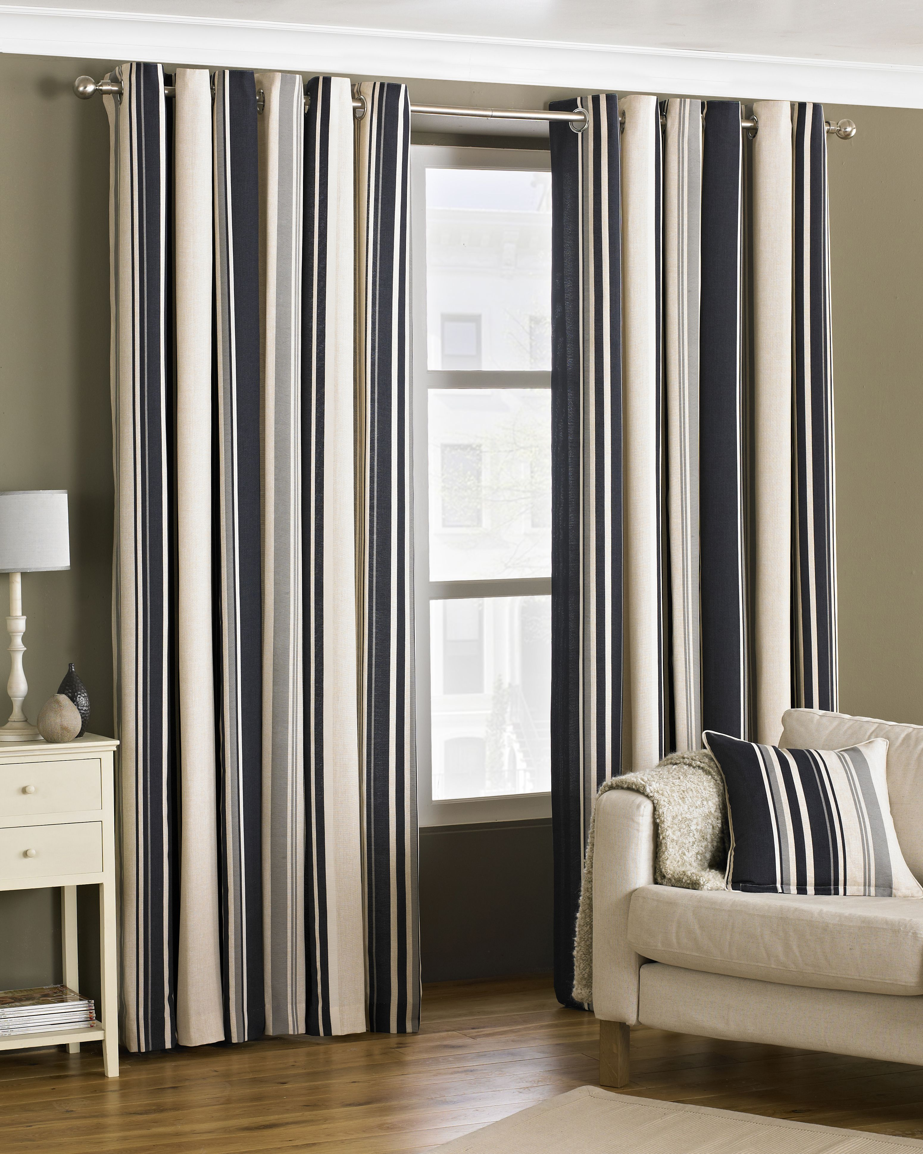 Broadway Striped Eyelet Curtains in Black