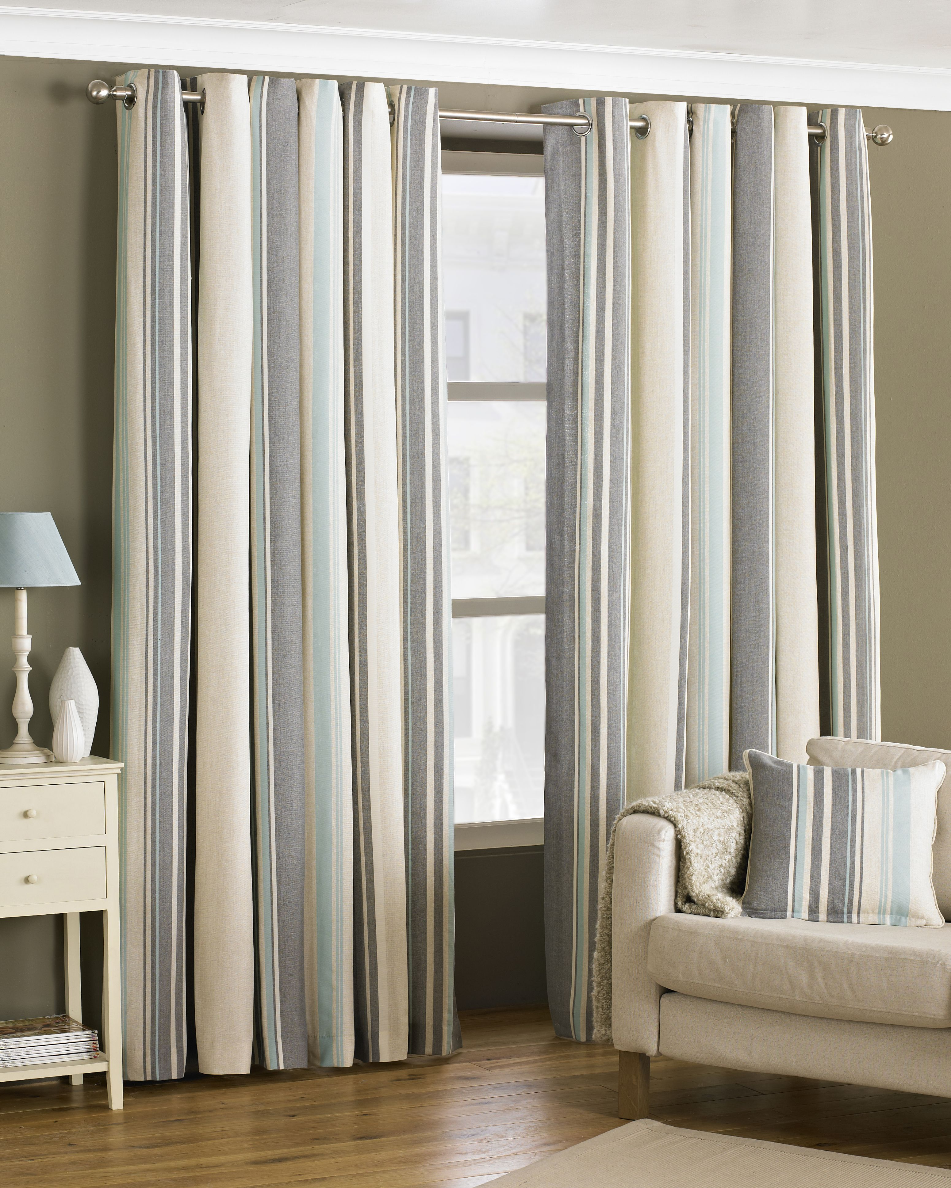 Broadway Striped Eyelet Curtains in Duck Egg Blue