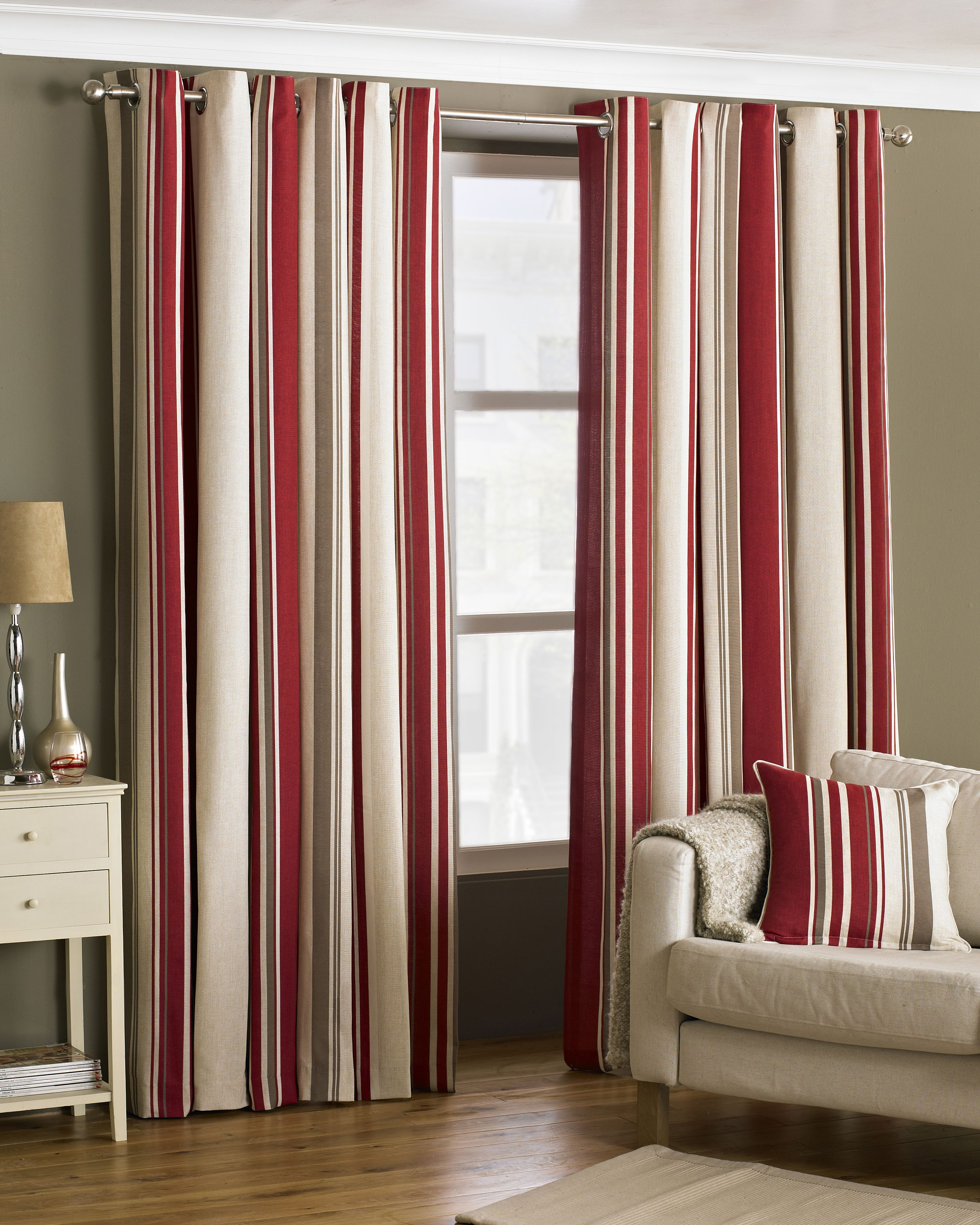 Broadway Striped Eyelet Curtains in Raspberry