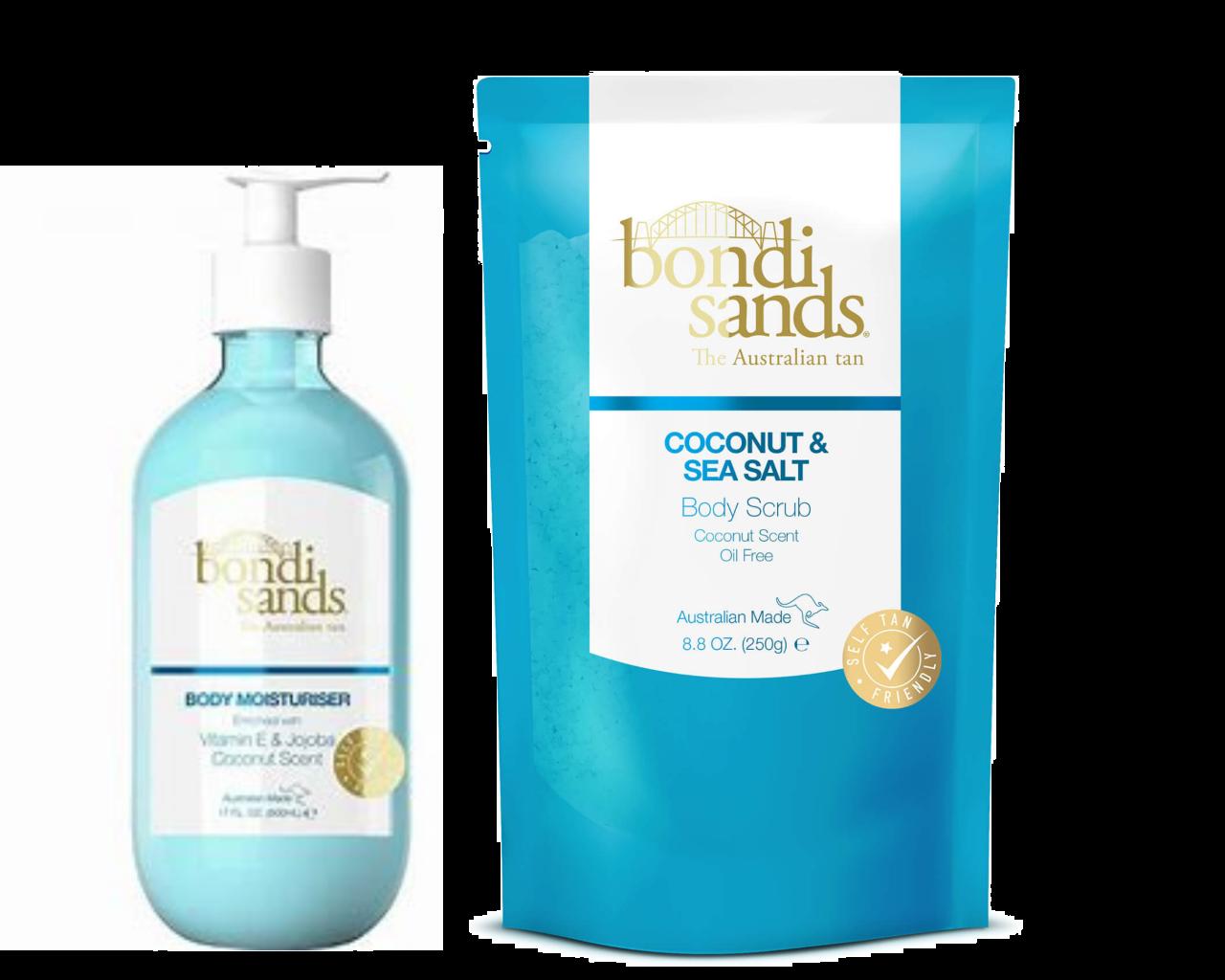 Bondi Sands Body Scrub Coconut and Sea Salt 250g + Coconut Moisturiser 500ml