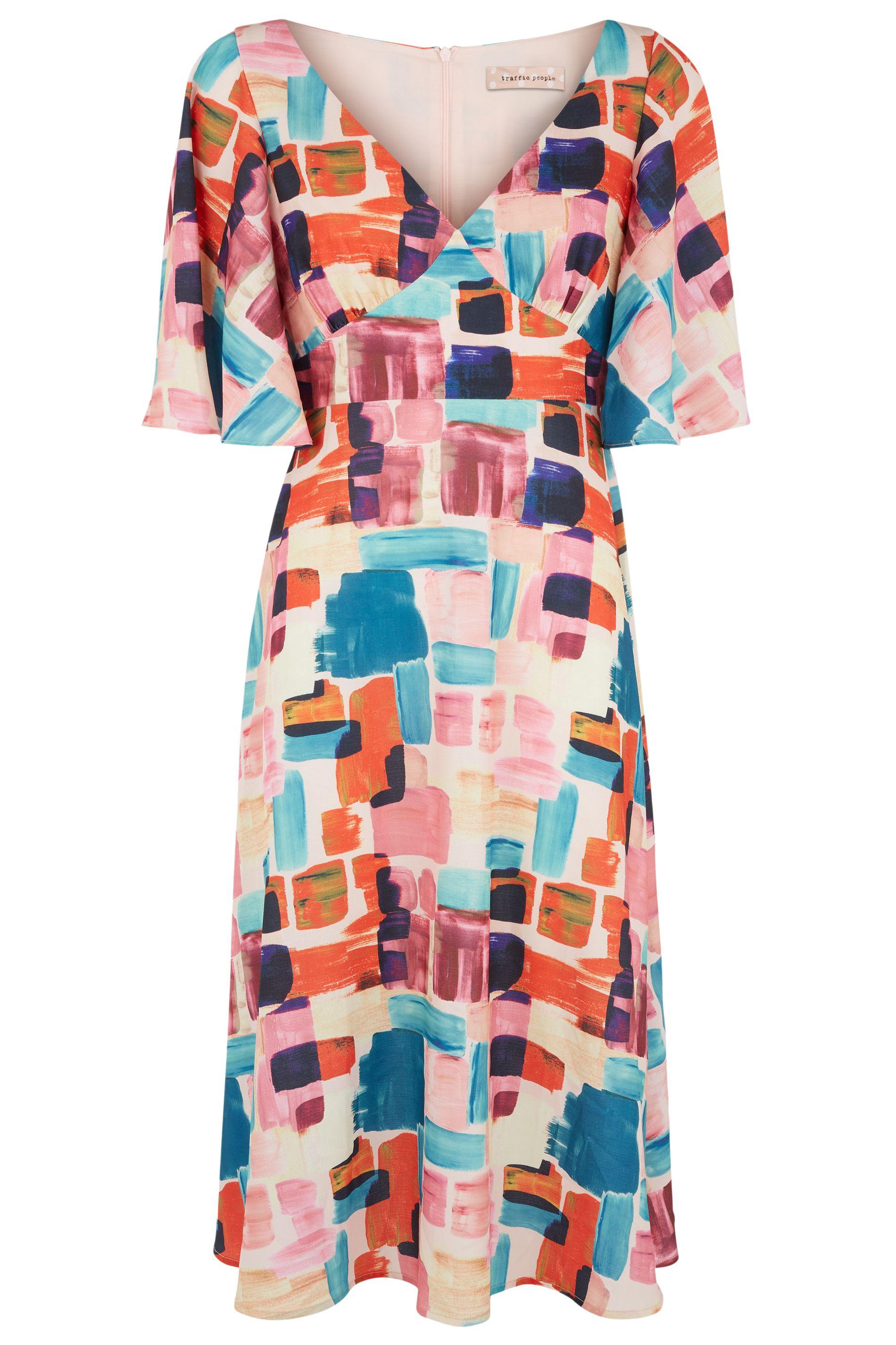 Preen Printed V-neck Midi Dress in Multicoloured