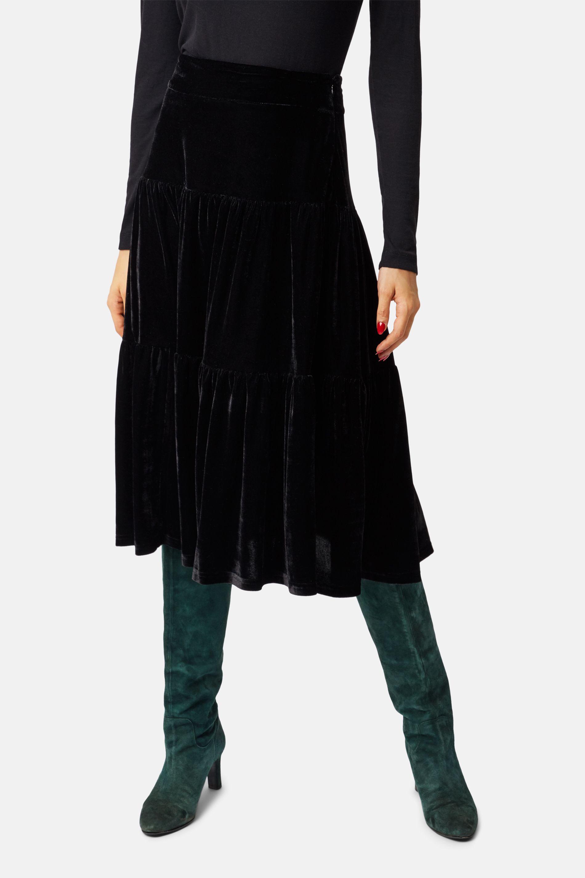 If You Please Velvet A-line Midi Skirt in Black