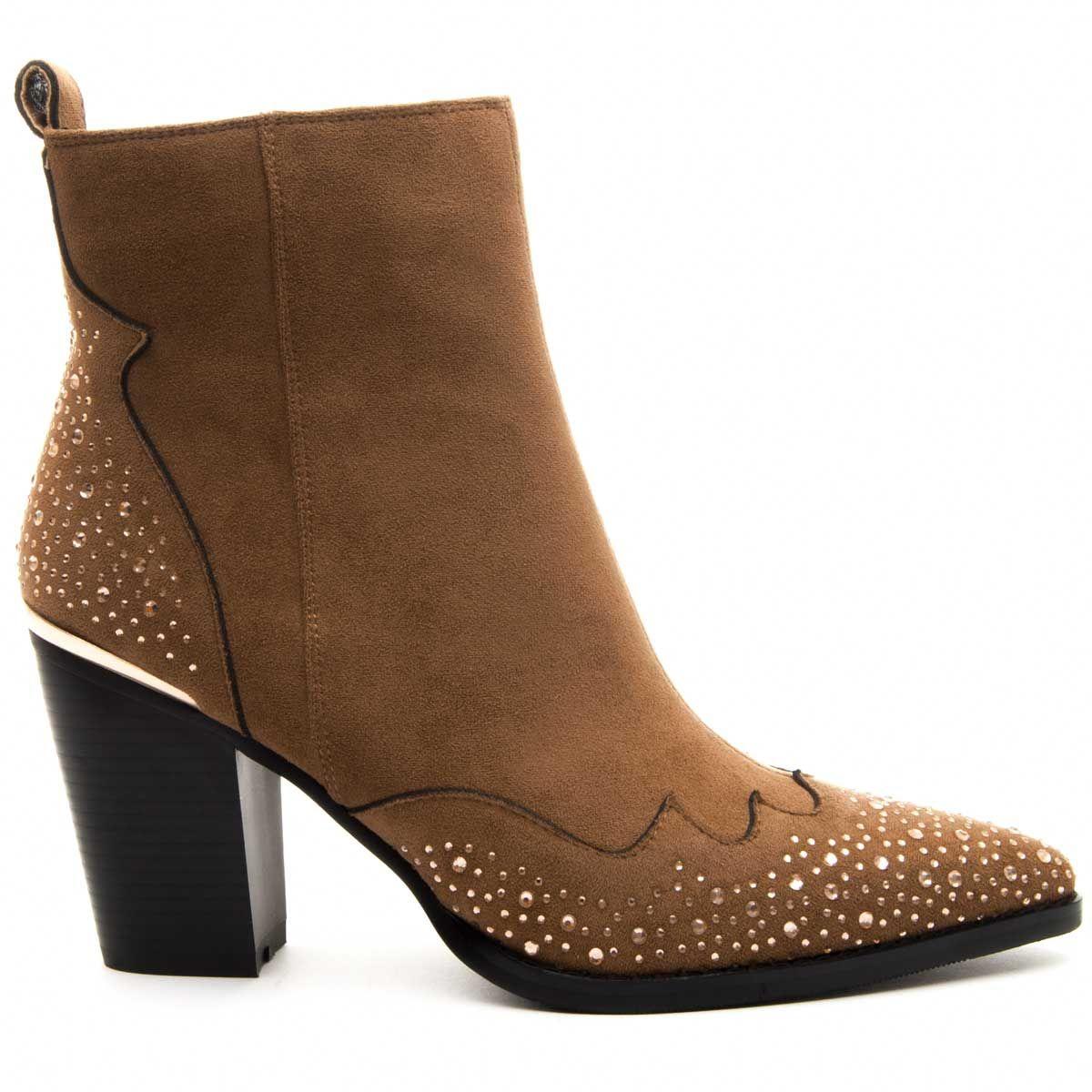 Montevita Heeled Western Ankle Boot in Brown