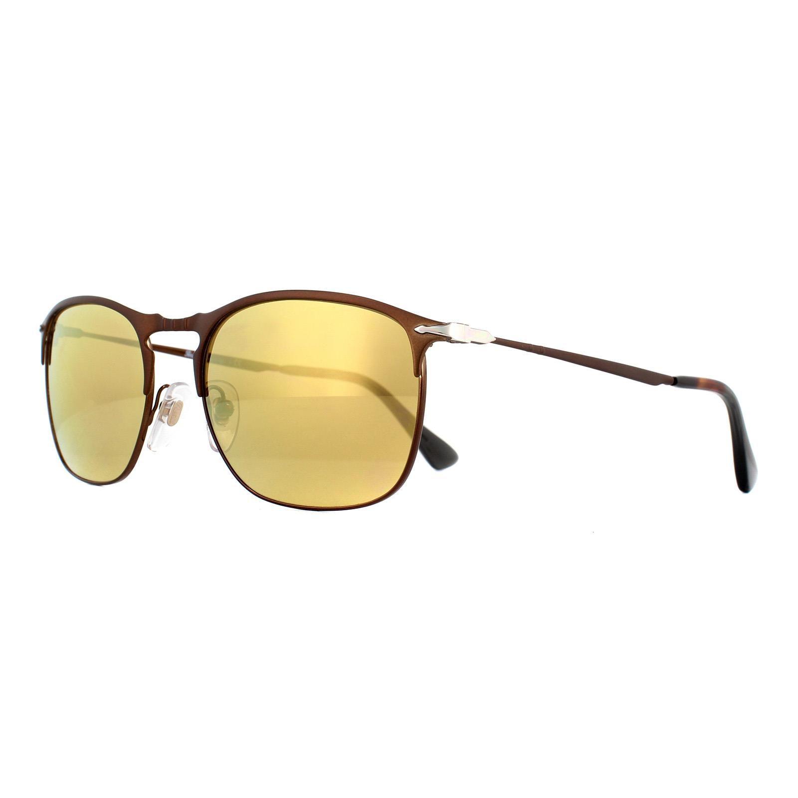 Persol Sunglasses 7359S 1072W4 Matt Brown Light Brown Gold Mirror 55mm