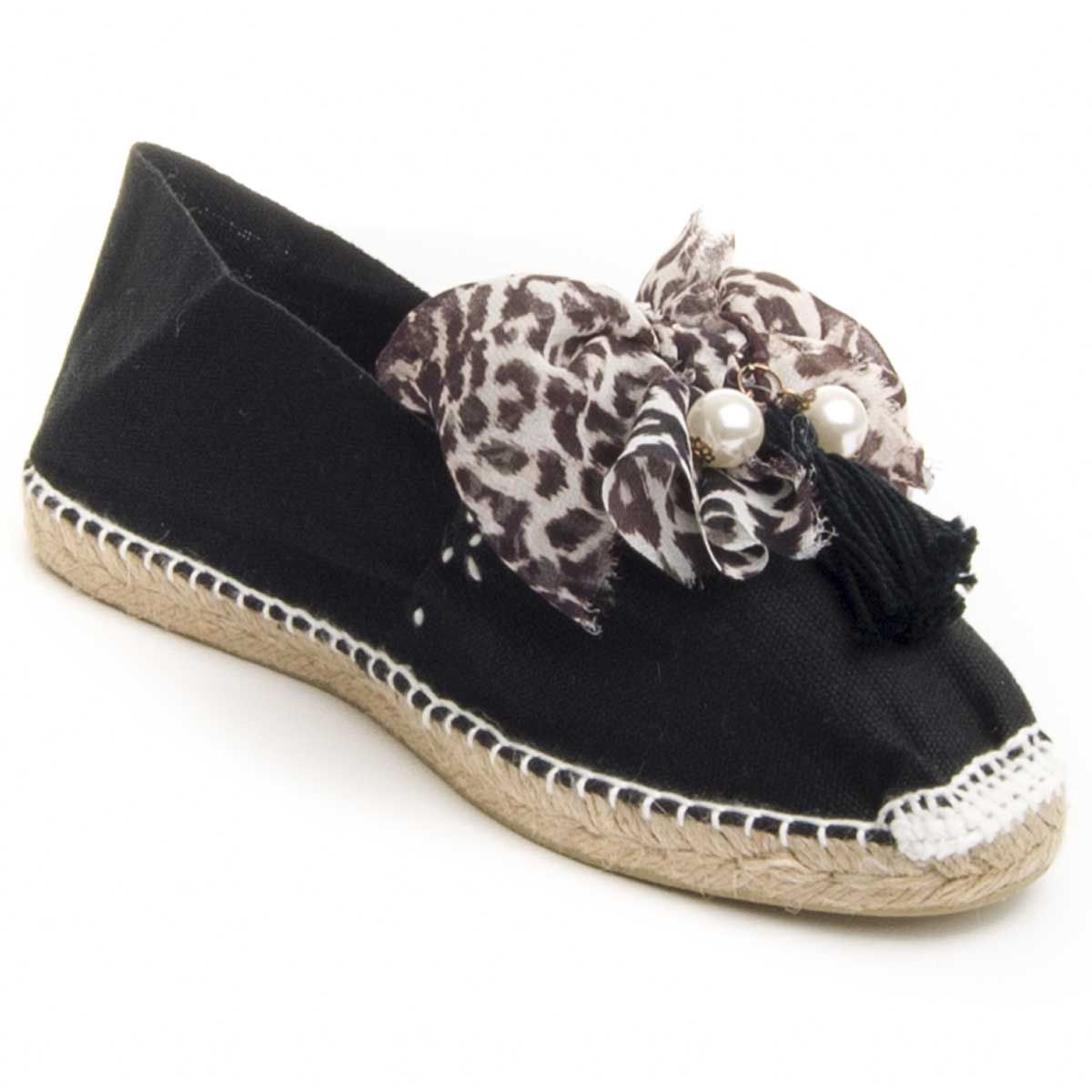 Maria Graor Bow Front Espadrille in Black