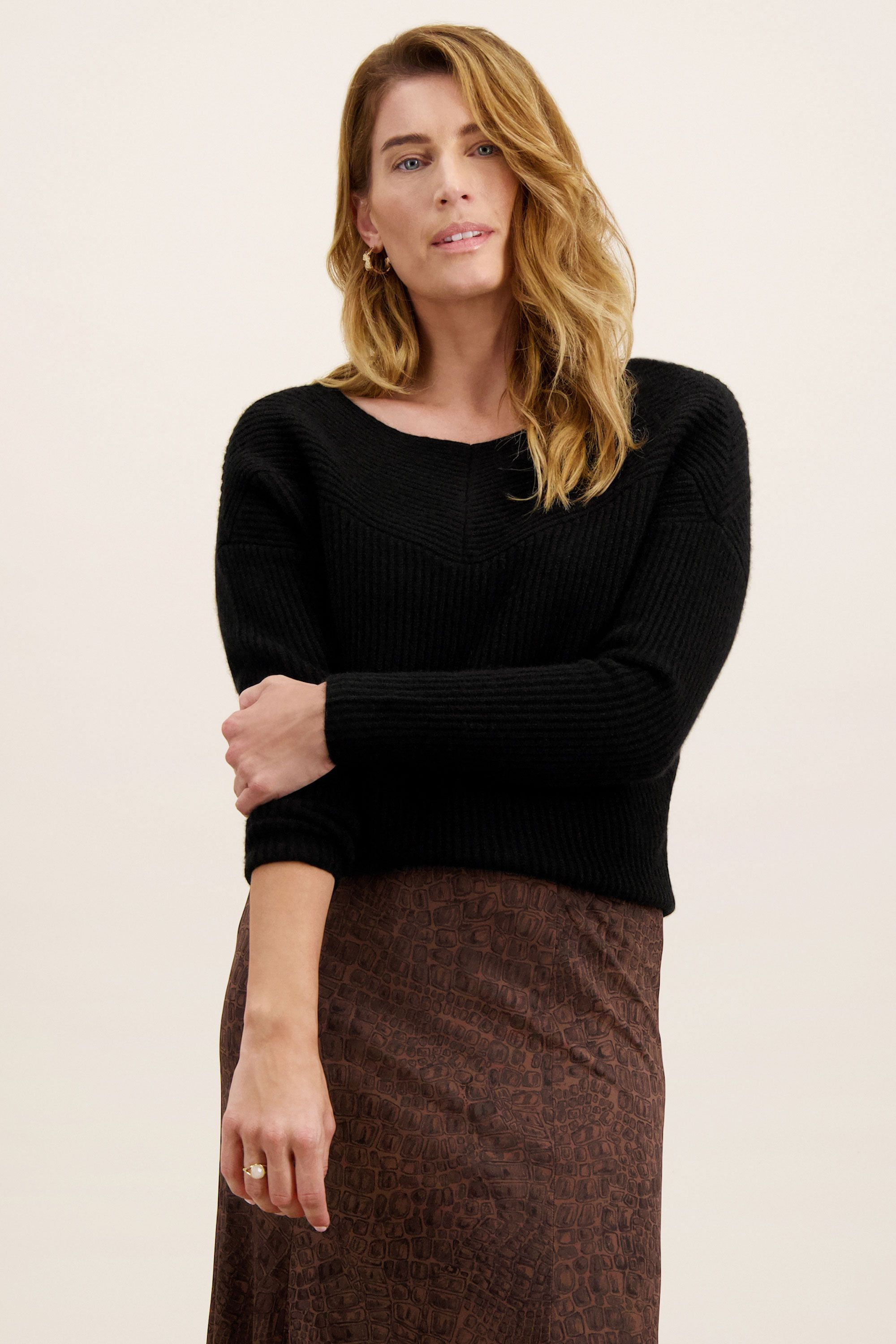 Ribbed Batwing Open Neck Sweater in Black