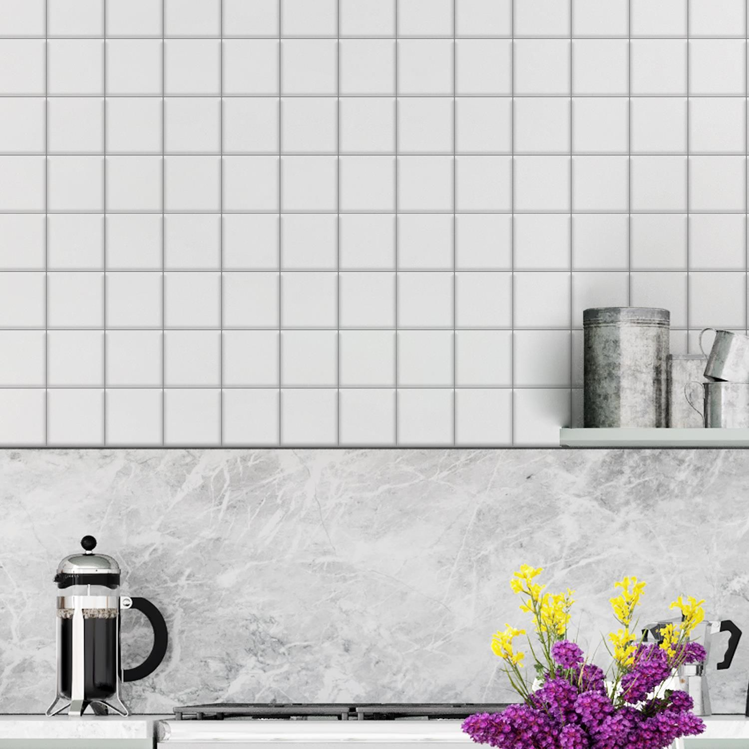 Spanish Retro White  Square Glossy 3D DIY Self Adhesive Tile Stickers 15 x 15cm (6 x 6 in) - 16pcs in a pack, 3D Tiles Wall Stickers, Kitchen, Bathroom, Living room, peel and stick